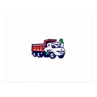 Dump Truck Waving Cartoon Postcard