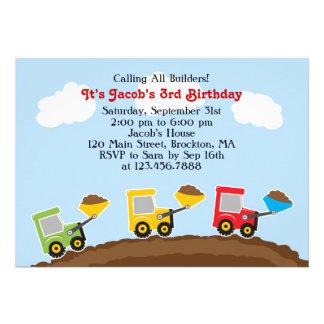 Dump Trucks Construction Birthday Flat Invitation
