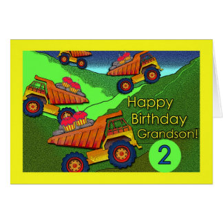 Dump Trucks With Cupcakes, Birthday for Grandson Greeting Card