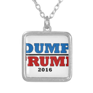 Dump Trump Hillary President 2016 Funny Silver Plated Necklace
