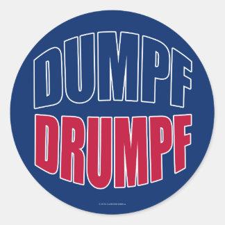 DUMPF DRUMPF (Blue & Red on Blue) Round Sticker