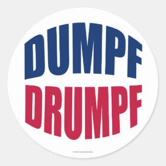 DUMPF DRUMPF (Blue & Red on White) Round Sticker
