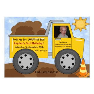 Dumptruck Kids Photo Birthday Invitation