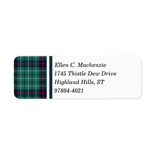 Duncan Clan Royal Blue and Turquoise Modern Tartan Return Address Label