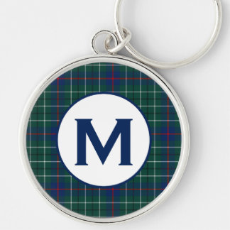 Duncan Family Tartan Green and Blue Plaid Monogram Silver-Colored Round Key Ring