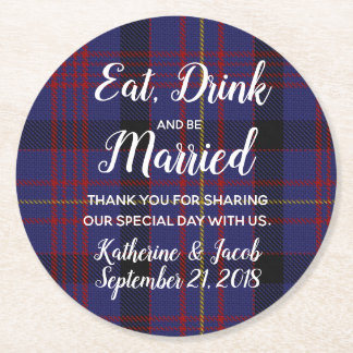 Dundonald Plaid Wedding Favour Paper Coaster