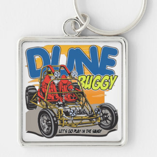 Dune Buggy Play in the Sand Silver-Colored Square Key Ring