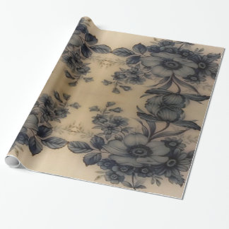 Dune Pale Oyster Flora Wrapping Paper