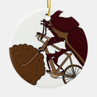 Dung Beetle Riding Bike With Dung Wheel Ceramic Ornament