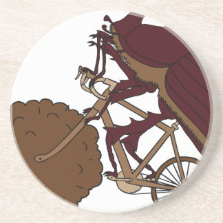 Dung Beetle Riding Bike With Dung Wheel Drink Coaster