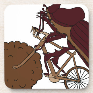 Dung Beetle Riding Bike With Dung Wheel Drink Coasters