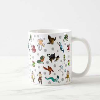 Dungeon and Dragons Dice and Magical Creatures Coffee Mug