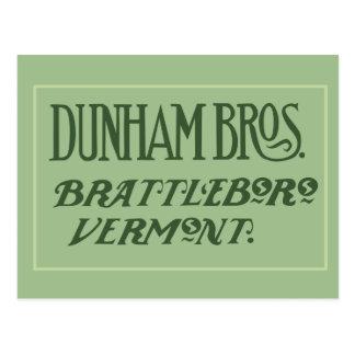 Dunham Bros. Brattleboro, VT Postcard