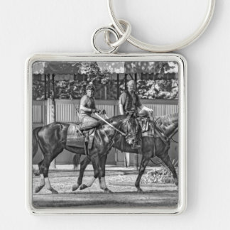 Dunkin Bend Silver-Colored Square Key Ring