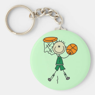 Dunking Boys Basketball Tshirts and Gifts Basic Round Button Key Ring