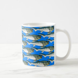 Dunkleosteus pattern in blue coffee mug