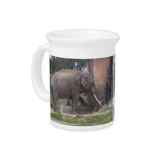 Duo elephants beverage pitchers