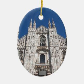 Duomo Milano Gothic Cathedral Church Milan Italy Ceramic Oval Decoration