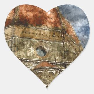 Duomo Santa Maria Del Fiore and Campanile Heart Sticker