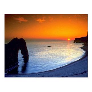 Durdle Door, sunset, Dorset, England Postcard