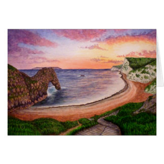 Durdle Door Sunset Greeting Card