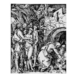 Durer Etching Descent Into Hell Poster