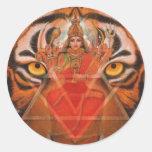 Durga & Tiger Classic Round Sticker