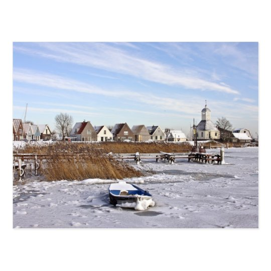 Durgerdam in the Netherlands in winter Postcard