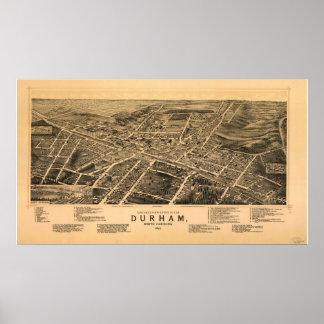 Durham N. Carolina 1891 Antique Panoramic Map Poster
