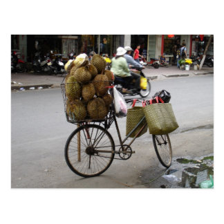 Durian for sale on a bicycle post cards