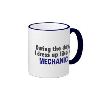 During The Day I Dress Up Like A Mechanic Ringer Mug