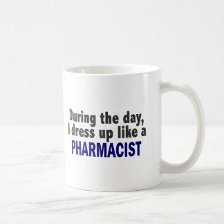 During The Day I Dress Up Like A Pharmacist Basic White Mug