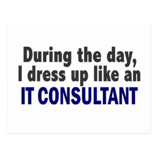 During The Day I Dress Up Like An IT Consultant Postcard