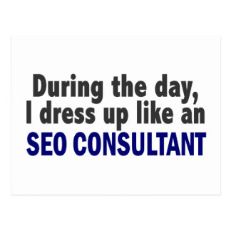 During The Day I Dress Up Like An SEO Consultant Postcard
