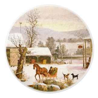 Durrie Americana Horse Sleigh Snowy Day Knob