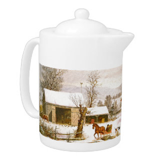 Durrie Snow Horse Sleigh Winter in Country Teapot