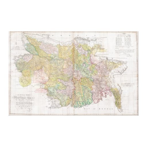 Dury Wall Map of Bihar and Bengal, India Gallery Wrap Canvas