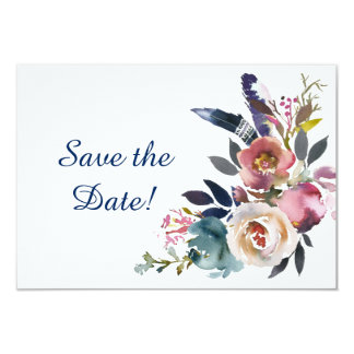 Dusk Blue and Pink Floral Bouquet Save The Date Card