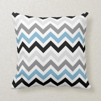 Dusk Blue Black Gray Chevron Zigzag Pattern Throw Cushion