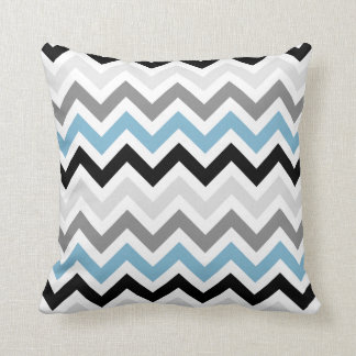Dusk Blue Black Gray Chevron Zigzag Pattern Throw Pillow