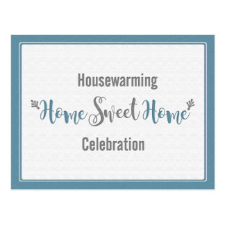 Dusk Blue Gray Home Sweet Home Housewarming Party Postcard