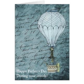 Dusk Blue Hot Air Balloon Steampunk Father's Day Card