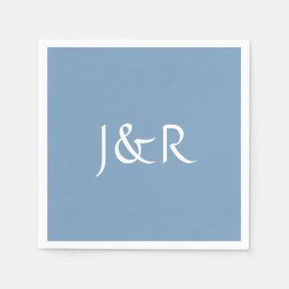 Dusk Blue Monogram Paper Napkins
