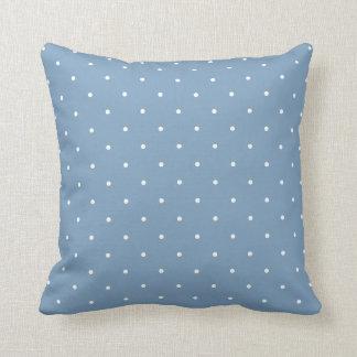 Dusk Blue Polka Dot Throw Pillow