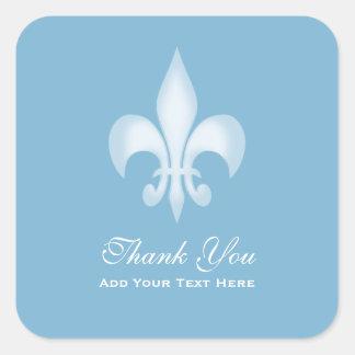 Dusk Blue Transparent Fleur de Lis Thank You Square Sticker