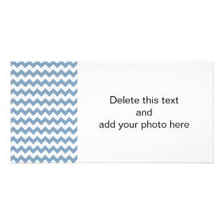 Dusk Blue White Chevron Pattern Custom Photo Card