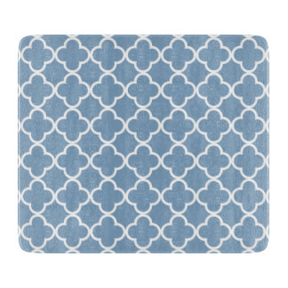 Dusk Blue White Quatrefoil Moroccan Pattern Cutting Board