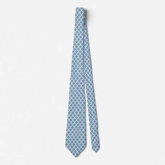 Dusk Blue White Quatrefoil Pattern Ties For Men