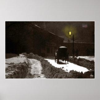 Dusk Carriage Quebec City Poster