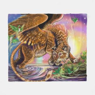 Dusk Hunter Flying Cat Fleece Blanket